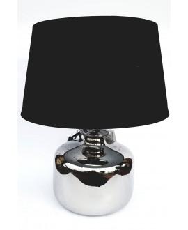 LAMPA SREBRNA Z CZARNYM ABAŻUREM 41CM
