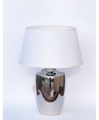 LAMPA SILVER Z BIAŁYM ABAŻUREM 37 CM