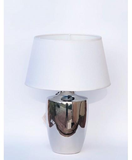 LAMPA SREBRNA Z BIAŁYM ABAŻUREM 45 CM