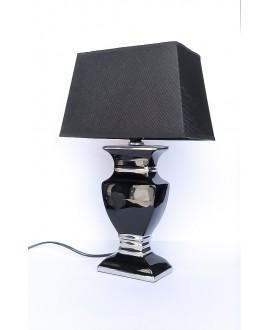 Lampa srebrna z czarnym abażurem