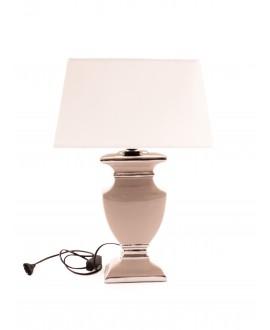LAMPA W KOLORZE TAUPE Z BIAŁYM ABAŻUREM DUŻA