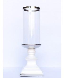 ŚWIECZNIK LAMPION BIAŁO SREBRNY