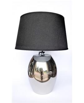 LAMPA SREBRNA Z CZARNYM ABAŻUREM 42CM