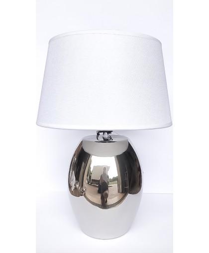 LAMPA SREBRNA Z BIAŁYM ABAŻUREM 42CM