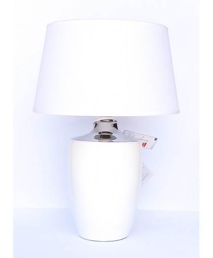 LAMPA BIAŁO SREBRNA Z BIAŁYM ABAŻUREM