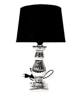 LAMPKA SREBRNA Z BIAŁYM ABAŻUREM 60CM