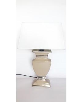 LAMPA W KOLORZE TAUPE Z BIAŁYM ABAŻUREM ŚREDNIA